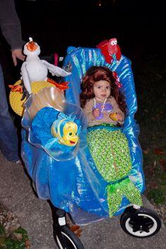 Baby Ariel costume. Stroller costume. Flounder Sebastian Scuttle. Under the sea. The little mermaid. Halloween Ariel costume.