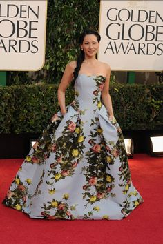Lucy Liu, in Carolina Herrera, with Lorraine Schwartz jewels.