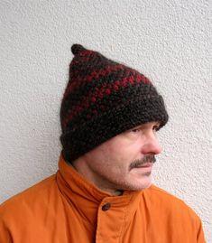 Mens winter hat 100% natural icelandic wool ECO red and black hat Mens  handmade pure wool hat Mens crochet hat Winter mens bulky hat warm 09dbbaf0ddc3