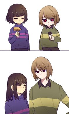 It seems most people imagine Frisk as a girl and Chara a boy, but I see it compel eyelet opposite? Frisk sounds more masculine and Chara more feminine. Flowey Undertale, Undertale Love, Undertale Memes, Undertale Ships, Undertale Fanart, Undertale Comic, Frisk, Chara, Undertale Drawings