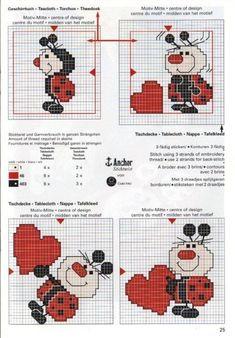 lady bug x-stitch Cross Stitch For Kids, Just Cross Stitch, Cross Stitch Heart, Cross Stitch Cards, Cross Stitch Animals, Cross Stitching, Embroidery Hearts, Cross Stitch Embroidery, Cross Stitch Designs