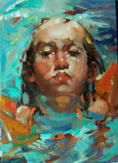 "Kim Roberti: Her Wings, 5""x7"", original oil contemporary, figure/portrait  #Realism"