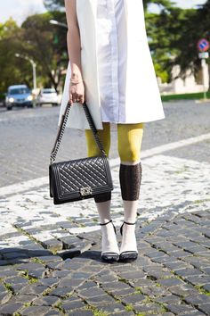 socks and sandals with Chanel boybag