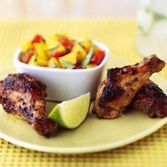 Jamaican Jerk Chicken Wings     Mix cider vinegar, Jamaican jerk seasoning, orange juice, lime juice, olive oil and soy sauce for this version of jerk marinade. Let chicken marinate 4 to 24 hours, and you'll be ready to go straight to the grill. Serve with Mango Salsa for more Caribbean flavor.