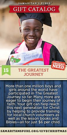 After a child receives an Operation Christmas Child shoebox gift, he/she may have the opportunity to experience The Greatest Journey discipleship program. You can give the gift of discipleship through Samaritan's Purse.