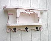 Wall shelf organizer wood key hooks coat rack shabby chic