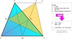 Geometry Problem 860: Triangle, Three Medians, Parallel, Parallelogram, Area, Congruence. Level: High School, SAT Prep, College geometry