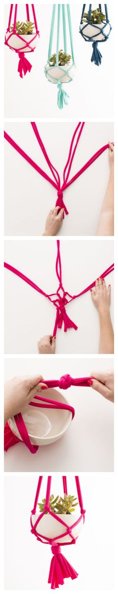 Jersey-Knit Macramé Hanging Planters #homedecor #DIY