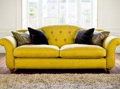 Stunning Yellow Sofas Combining with Modern White Color Design: Luxurious Yellow Sofas  With Black Cushions On Wooden Flooring Equipped With...