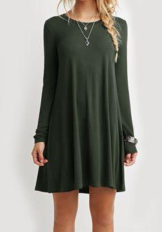 Green Plain Long Sleeve Casual Mini Dress - Mini Dresses - Dresses