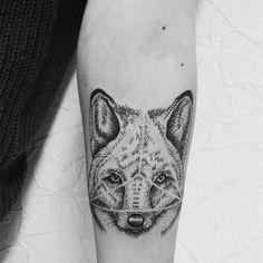 Www.facebook.com/SimonaSokolova.ART Fox tattoo, triangle, illuminati art, black and gray, cute hand tattoos. Young tattoo artist from Lithuania