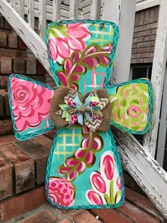 New Spring Door Hangers Burlap Ideas Cross Door Hangers, Burlap Door Hangers, Painted Doors, Wooden Doors, Painted Crosses, Crosses Decor, Painted Signs, Cross Wreath, Spring Door