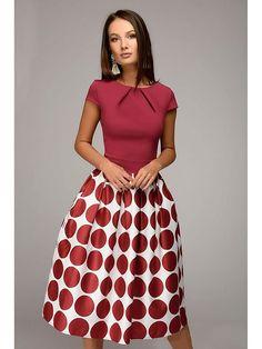 Платье 1001 DRESS. Цвет темно-бордовый, бордовый, белый. Вид 2.
