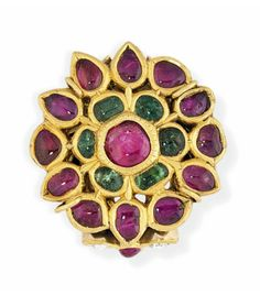 India   Large ruby and emerald gold ring   19th century   3'750£ ~ sold (Apr '14)