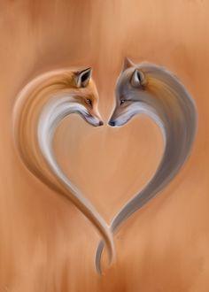 X-mas present - Fox & Wolf Animal Drawings, Cute Drawings, Cute Fox Drawing, Wolf Drawings, Anime Poses Female, Anime Wolf Drawing, Anime Sketch, Wolf Poster, Fox Tattoo