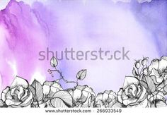 Blue, purple sky watercolor background with graphic floral rose hips and rose flowers.