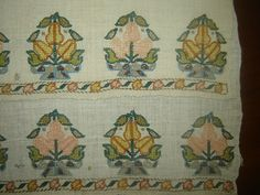 19th C Antique Ottoman Turkish Hand Embroidery on Linen 'Yağlik' w Pear Motif | eBay