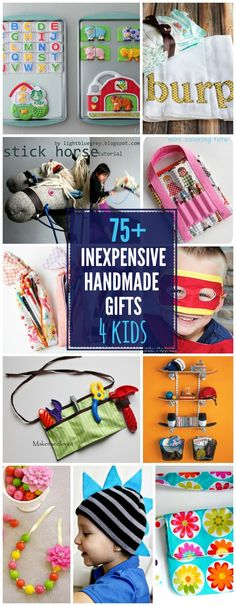 75+ DIY Gifts For Kids ~  Most can be made for under $10 which is awesome! There really are SO many great ideas here!  >Fabric Flower Headbands >Burp Cloths >Car Seat Cover >DIY Minecraft Shirts >Mickey and Minnie Baby Bibs >DIY Ruffle Apron  >Drawstring Bag >Baking Sheet Magnet Boards  >Ombre Bracelet  >Crates on Wheels >Bubble Bath Paint  >Snowman Hat >Stick Horse from  >Woodland Friends Bookmarks  & MUCH MORE!  Project Links @: http://lilluna.com/75-diy-gifts-for-kids/
