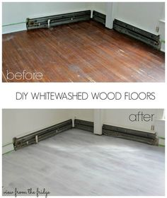How to Whitewash Wood Floors Yourself. Easy to follow tutorial from View From The Fridge. What a huge difference this makes in the room!
