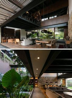 Inside this modern house, the living room, dining room and kitchen all share the same space. Both sides of the space open to green spaces, and a high ceiling allows plenty of light in.