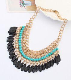 Venta al por mayor 2014 borlas bohemias gota Vintage oro gargantilla cadena Neon Bib declaración collares y colgantes joyería moda para la mujer