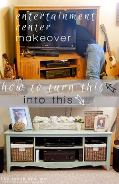 Entertainment Center to TV Console Makeover…better make use of that saw! Entertainment Center to TV Console Makeover … better use this saw! Refurbished Furniture, Repurposed Furniture, Furniture Makeover, Chair Makeover, Furniture Projects, Diy Furniture, Furniture Refinishing, Furniture Plans, Diy Tv