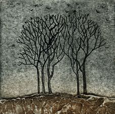 Home to roost - Kerry Buck, collagraph