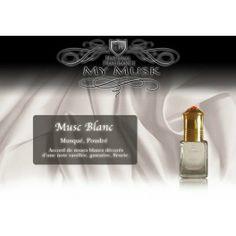 MUSC BLANC Musqué, poudré :  Accords de muscs blancs décorés d'une note de vanille, gustative, fleurie.      Parfum Mixte (sans alcool)     Fabriqué en France     Flacon roll-on de 5 ml  #elnabil #blanc #musc #mymusk #parfum Islamic, Up, Perfume Bottles, Place Card Holders, Cards, Beauty, Perfume Store, Flasks, Alcohol