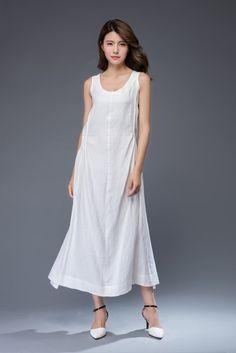 White linen Dress Simple Elegant Everyday Wardrobe Staple