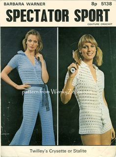 """WZ377 One more of the """"spectator sport"""" tennis set from Barbara Warner couture crochet at Twilleys- number 5138. A sexy jumpsuit in short or long versions..."""