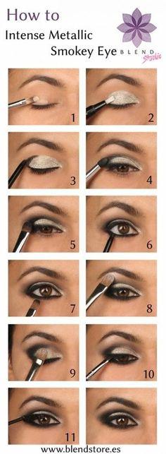How to make intense metallic smokey eyes