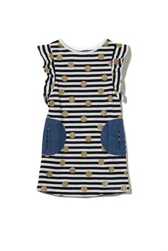 phoebe ss dress, VANILLA/TWILIGHT BLUE/STRIPE SPOT
