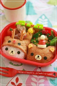 Rilakkuma Bear Inarizushi (Tofu Bag Sushi) Christmas Kyaraben Bento Lunch.