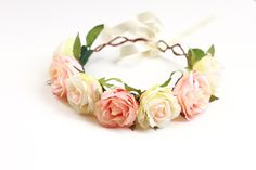 rose crown headband hair wreath - 'hey indio', romantic statement headpiece, large flower crown, oversized, woodland.. $49.00, via Etsy.