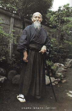 "Aikido Founder Morihei Ueshiba, from ""In Search of the Spirit of Aikido 2"" (合気道の心を求めて 2) by Kanshu Sunadomari. More from Sunadomari Sensei in this two part interview on the Aikido Sangenkai blog: Part 1 - http://www.aikidosangenkai.org/blog/interview-aikido-shihan-kanshu-sunadomari-part-1/ Part 2 - http://www.aikidosangenkai.org/blog/interview-aikido-shihan-kanshu-sunadomari-part-2/"