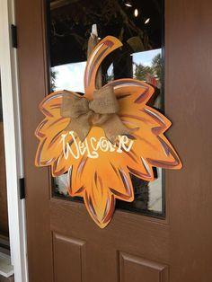 Fall Wreath Fall Door Hanger Welcome Wreath Fall Leaf