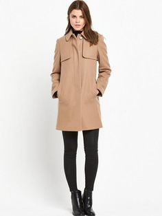 French Connection FRENCH CONNECTION PLATFORM FELT SHORT COAT | very.co.uk