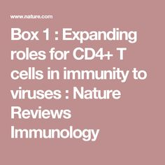 Box1 : Expanding roles for CD4+ T cells in immunity to viruses : Nature Reviews Immunology