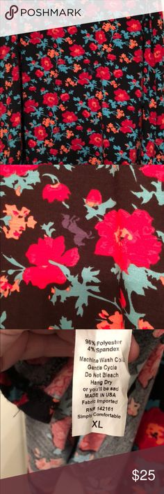 Xl maxi skirt lularoe UNICORN!  This lularoe maxi skirt has beautiful red flowers all over it and hidden UNICORNS on the skirt (pictured)! Black background. LuLaRoe Skirts Maxi