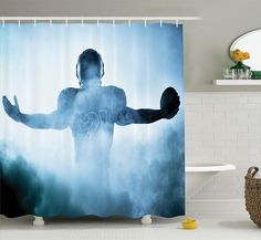 43924647d Amazon.com  Sports Decor Shower Curtain Set By Ambesonne