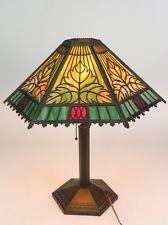 Vintage Bradley & Hubbard B&H 235 Slag Glass Panel Table Lamp Arts and Crafts