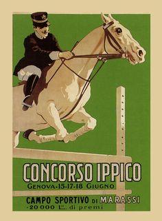 Horse Dressage Open Jumper Competition Equestrian Vintage Poster