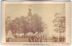 """Prof. Lowe reconnoitering at Battle of Fair Oaks. Two-sided card featuring photograph of man in a hot-air ballon tethered above a Union Army camp on one side and description of the photograph and copyright statement on back. Photograph is characterized as belonging to famous photographer, Matthew Brady. Photograph card 3"""" x 5"""". http://hdl.handle.net/1920/6420"""