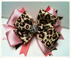 Pink Cheetah Diamond Big Hair Bow by MiaBeansBowtique on Etsy, $8.00