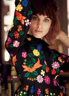 Now this is a different type of floral.. embroidered bright flowers black dress Alexa Chung for Lucky. Shot by Will Davidson Styled by Christopher Niquet Written by Jenna Gottlieb