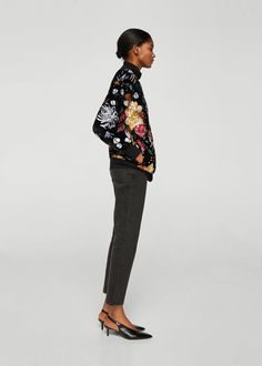 Floral embroidered jacket | MANGO