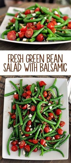 Fresh Green Bean Salad with Balsamic Dressing will be the best green-bean-thing to ever pass your lips this summer.This Fresh Green Bean Salad with Balsamic Dressing will be the best green-bean-thing to ever pass your lips this summer. Vegetable Recipes, Vegetarian Recipes, Cooking Recipes, Healthy Recipes, Bean Salad Recipes, Chicken Recipes, Baked Chicken, Healthy Meals, Healthy Salads For Dinner