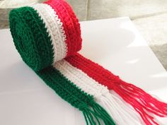 Available Here: https://www.etsy.com/listing/170529669/crochet-italian-flag-with-fringe-5-feet?ref=shop_home_feat_2 Italy Flag Scarf with Fringe Handmade Crochet. Available on Etsy.