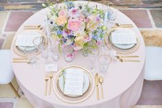 soft pink and gold and pastel wedding table decor Pastel Wedding Theme, Pastel Party, Floral Wedding, Wedding Colors, Pastel Weddings, Spring Weddings, Wedding Table Settings, Wedding Reception Decorations, Wedding Themes