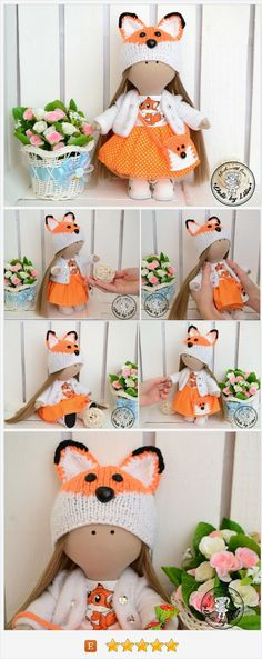 Textile doll Fox Tilda doll Fabric art doll Orange doll Rag cloth doll Interior doll Doll for kids Game doll Little cute doll Doll for gift https://www.etsy.com/DollsbyLilia/listing/576955870/textile-doll-fox-tilda-doll-fabric-art?ref=shop_home_active_1